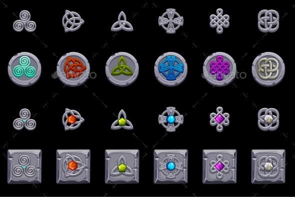 Celtic Symbols. Stone Coins and Square with Celtic - Objects Icons