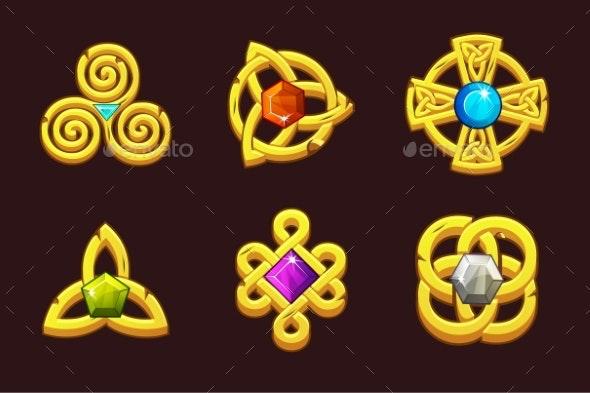 Golden Celtic Symbols with Gems. Cartoon Set - Miscellaneous Icons
