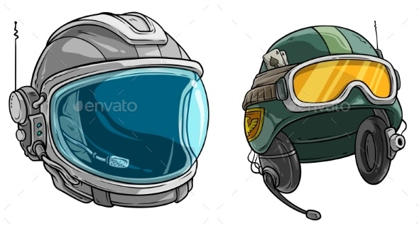 Cartoon Space Astronaut and Army Soldier Helmet - Man-made Objects Objects