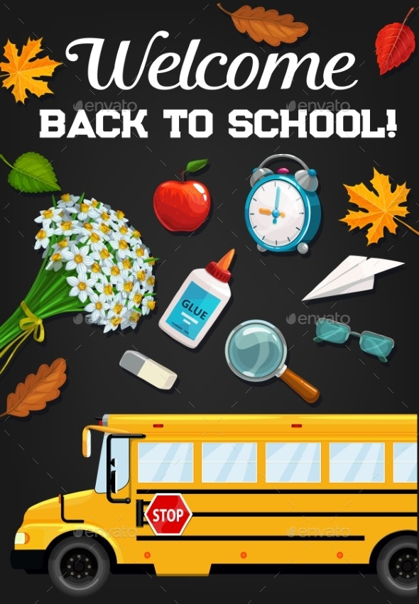 School Bus and Education Supplies on Blackboard - Miscellaneous Conceptual