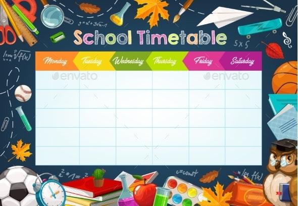 School Week Schedule Timetable Chalk Sketch - Backgrounds Decorative