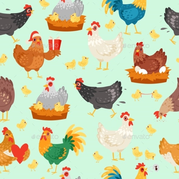 Chicken Characters in Different Poses - Animals Characters