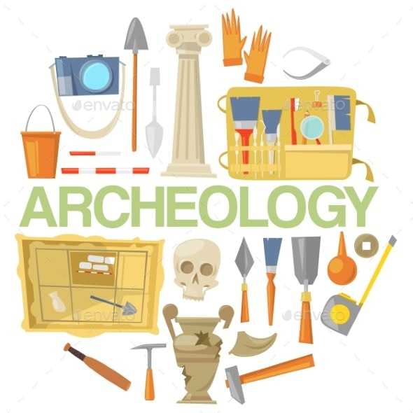 Archaeology Icon Set Banner Vector Illustration - Industries Business