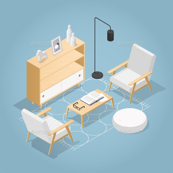 Isometric Living Room Illustration - Miscellaneous Vectors
