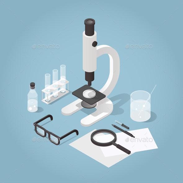 Isometric Chemical Laboratory Illustration - Miscellaneous Vectors