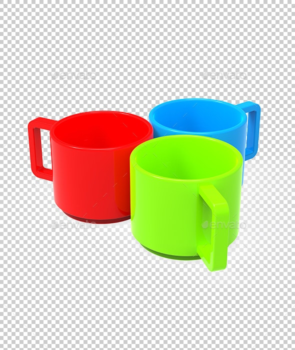 Three colored cups - Objects 3D Renders