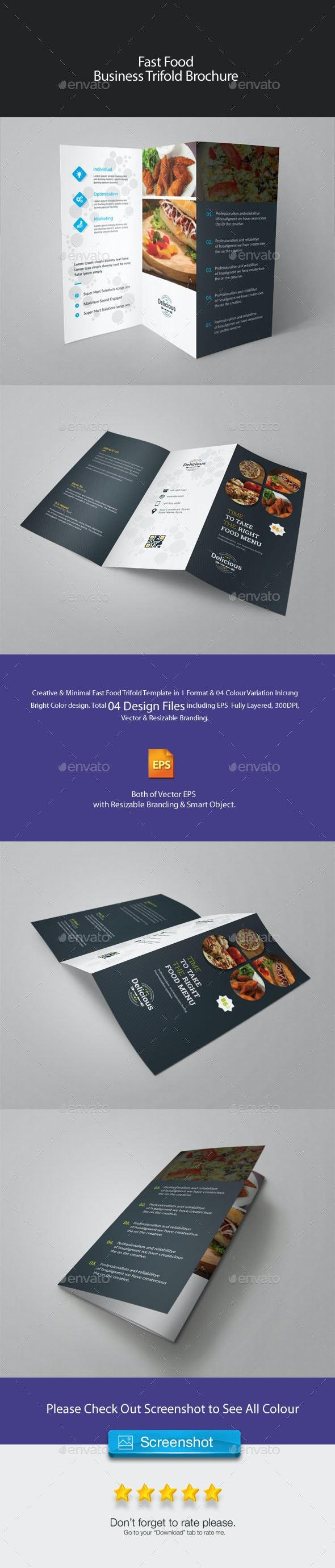 Fast Food Trifold Brochure - Food Menus Print Templates