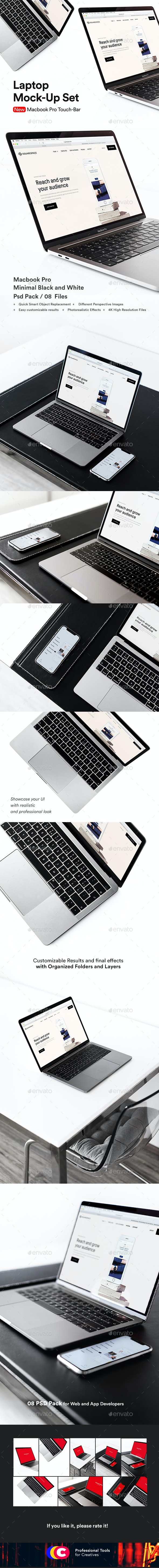 Minimal Laptop Mock-Up Psd Black and White