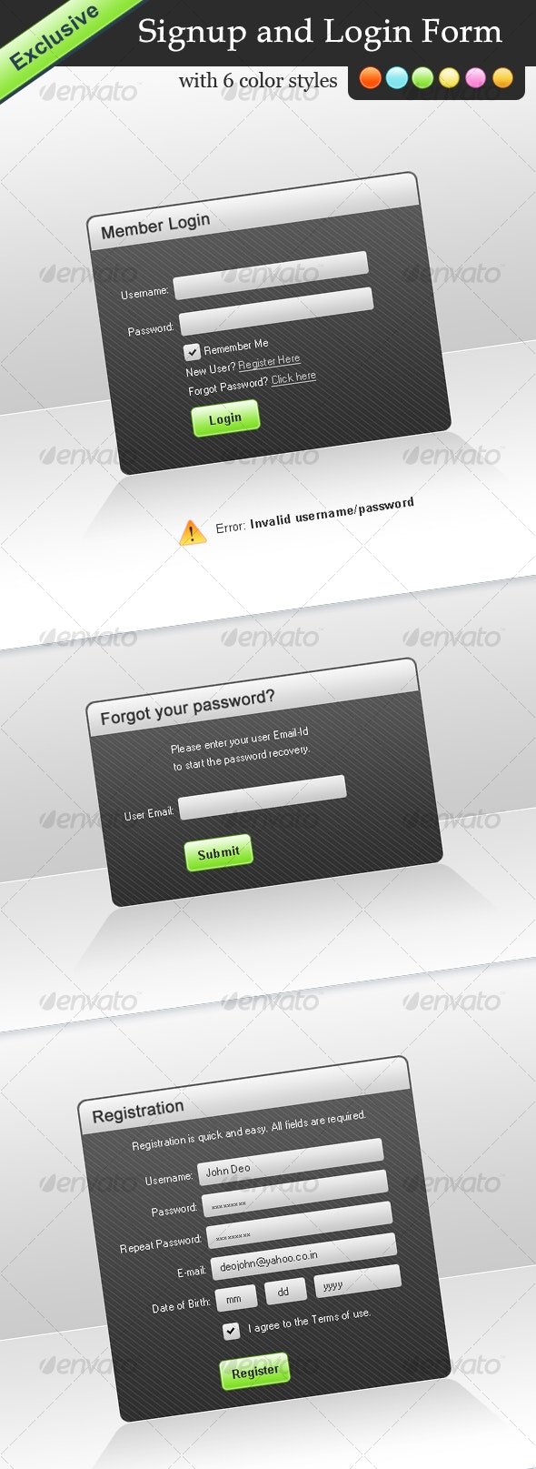 Exclusive Signup and Login Forms - Vol. 2 - Web Elements