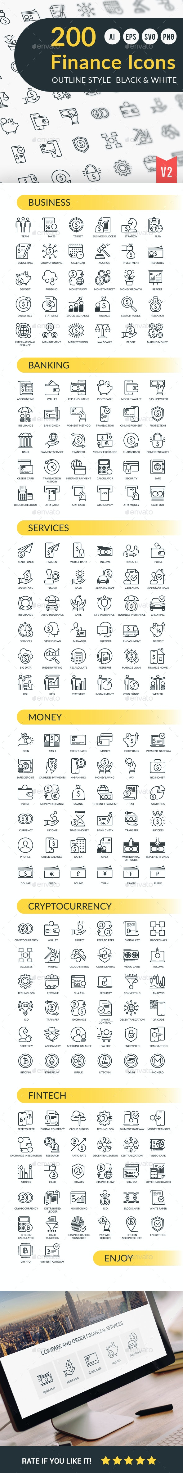 Finance Outline Icons - Business Icons