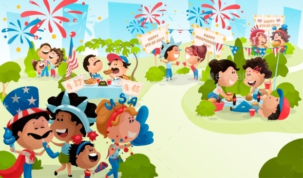 4Th of July Poster with Celebrating People. - People Characters