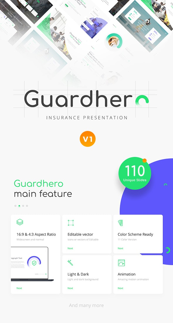 Guardhero Insurance PowerPoint Template - PowerPoint Templates Presentation Templates
