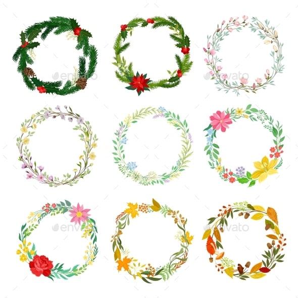 Set of Decorative Wreaths of Fresh Flowers - Flowers & Plants Nature
