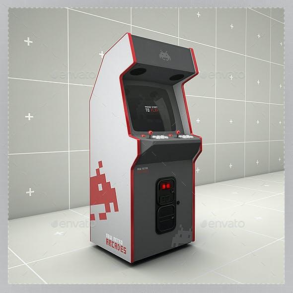 Retro Gaming Arcade Cabinet Mockup Template