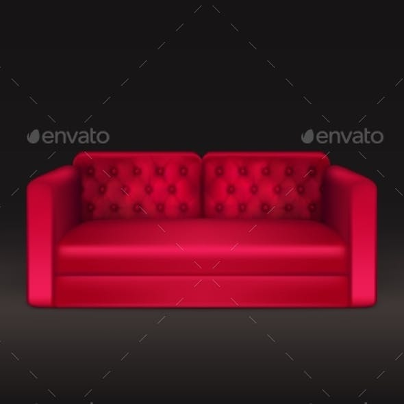 Classic Sofa of Red Leather Realistic Vector
