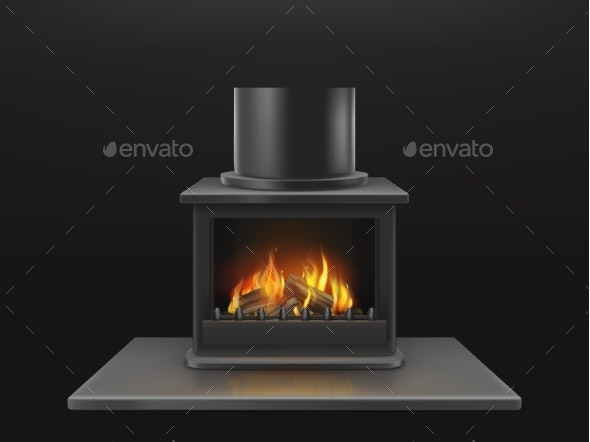 Fireplace with Burning Firewood Realistic Vector - Man-made Objects Objects