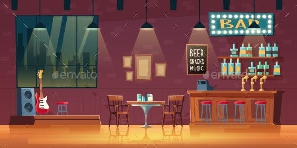 Empty Snack Bar Pub Interior Cartoon Vector - Backgrounds Decorative