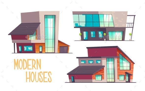 Modern Architecture Houses Cartoon Vector Set - Buildings Objects