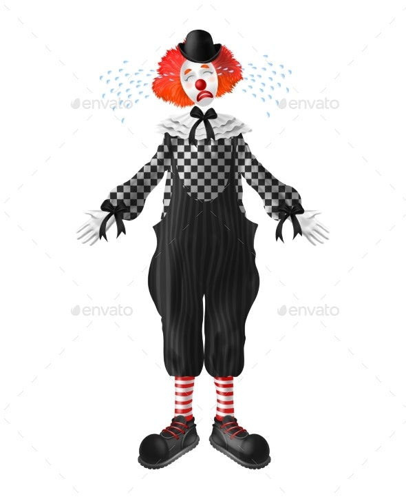 d52978ce5 Sad and Crying Clown Realistic Vector Character - People Characters