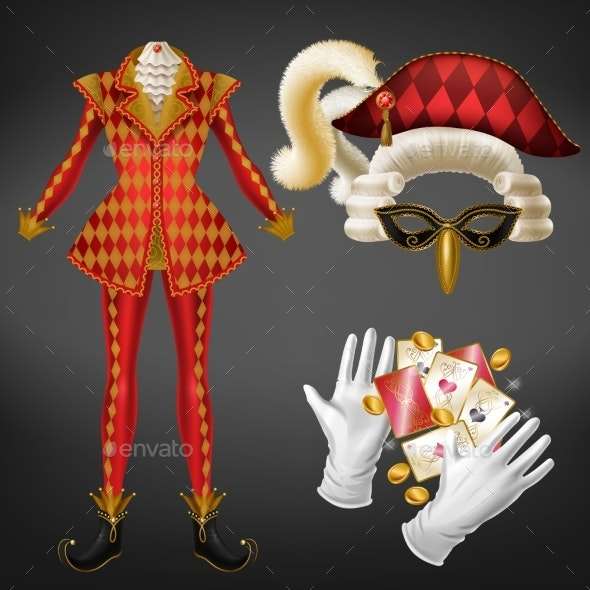 Card Game Joker Expensive Costume Realistic Vector - Man-made Objects Objects