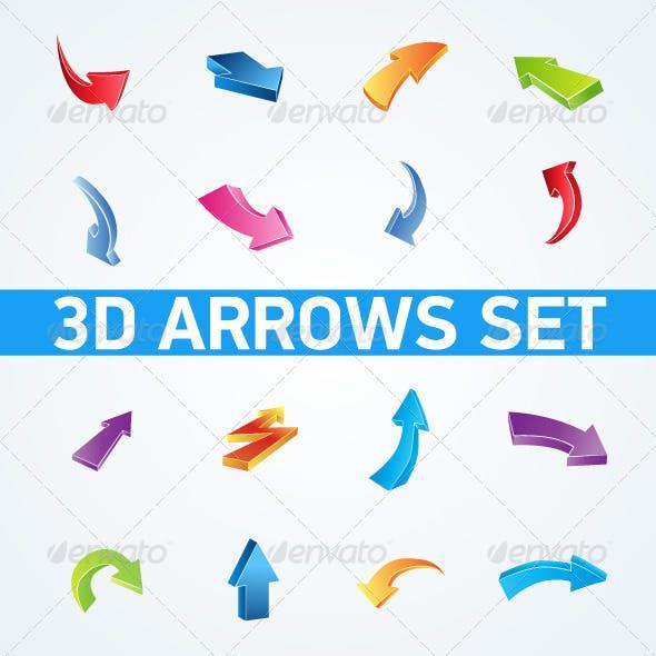 Colorful set of 3d arrows