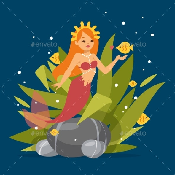 Mermaid Princess with Red Hair - Animals Characters