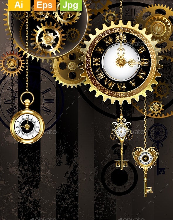 Antique Clock with Keys - Backgrounds Decorative