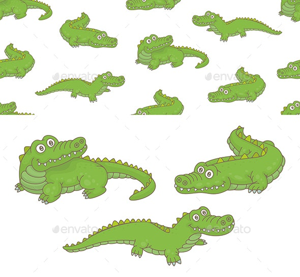 Set of Crocodiles and Pattern - Animals Characters