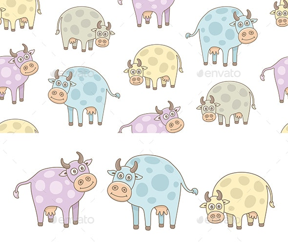 Set of Cows and Pattern - Animals Characters