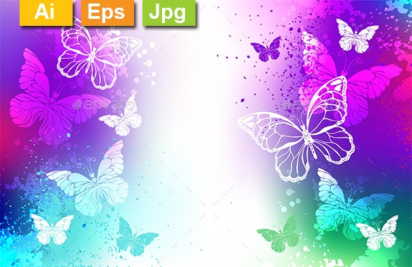 Bright Background with White Butterflies - Backgrounds Decorative