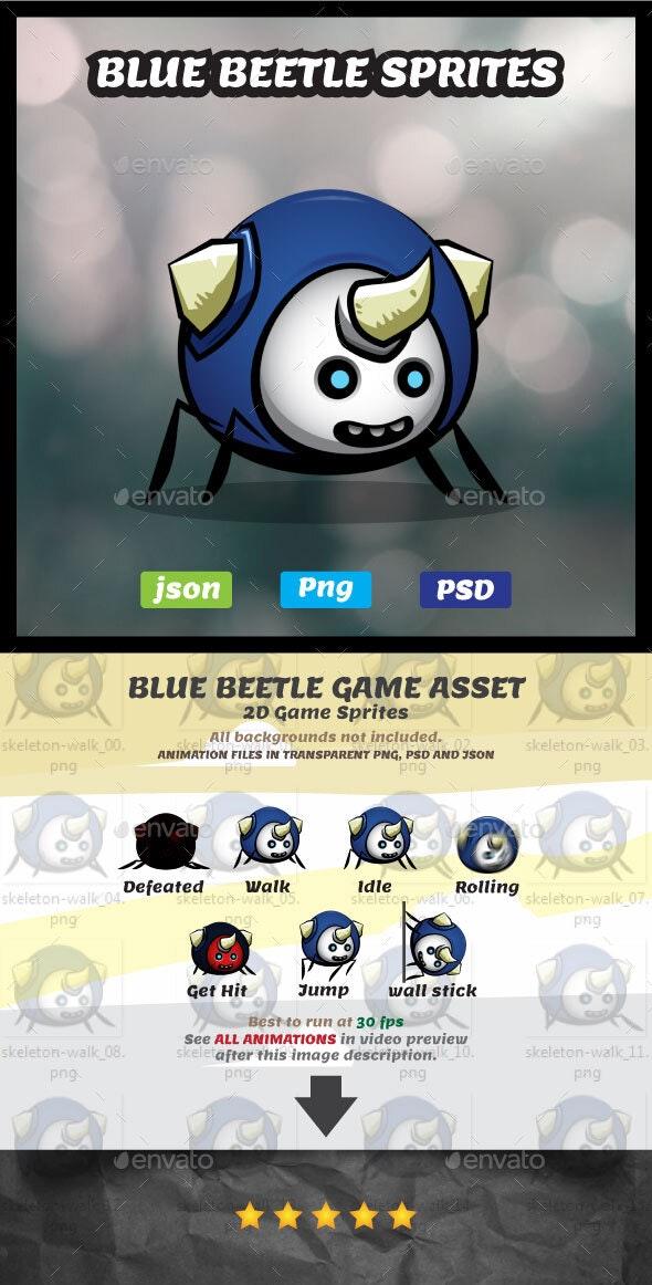 Blue Beetle Game Asset | Little Bug Sprites - Sprites Game Assets