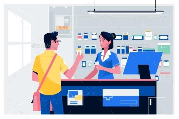 Pharmacist at Counter - Health/Medicine Conceptual