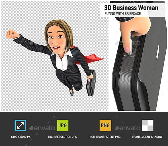 3D Business Woman Flying with Briefcase - Characters 3D Renders