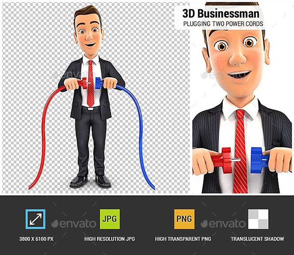 3D Businessman Plugging Two Power Cords - Characters 3D Renders