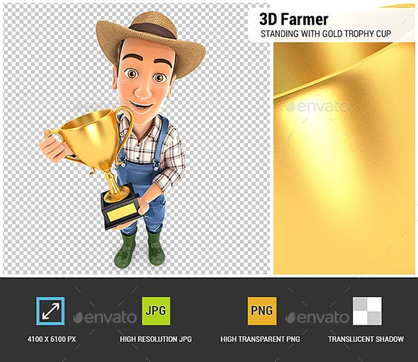 3D Farmer Standing with Gold Trophy Cup - Characters 3D Renders