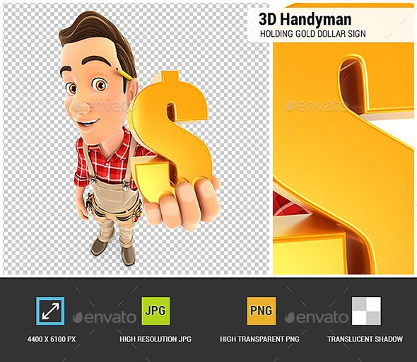 3D Handyman Holding Gold Dollar Sign - Characters 3D Renders