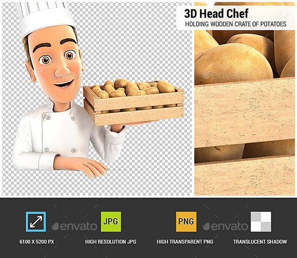 3D Head Chef Holding Wooden Crate of Potatoes - Characters 3D Renders