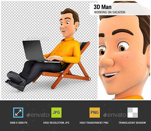 3D Man Working on Vacation - Characters 3D Renders