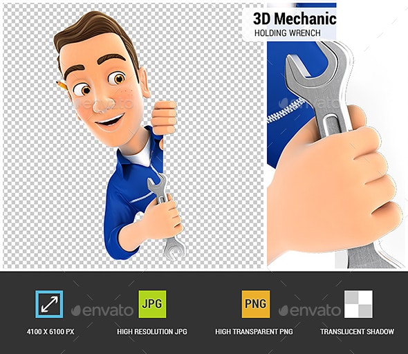 3D Mechanic Behind Left Wall and Holding Wrench - Characters 3D Renders
