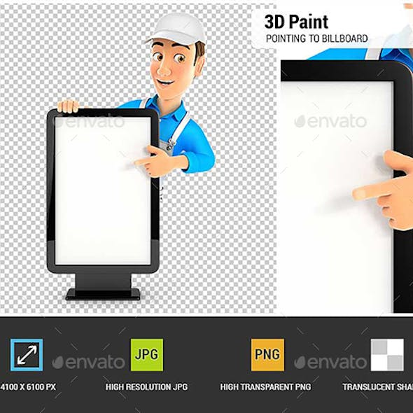 3D Painter Pointing to Blank Billboard