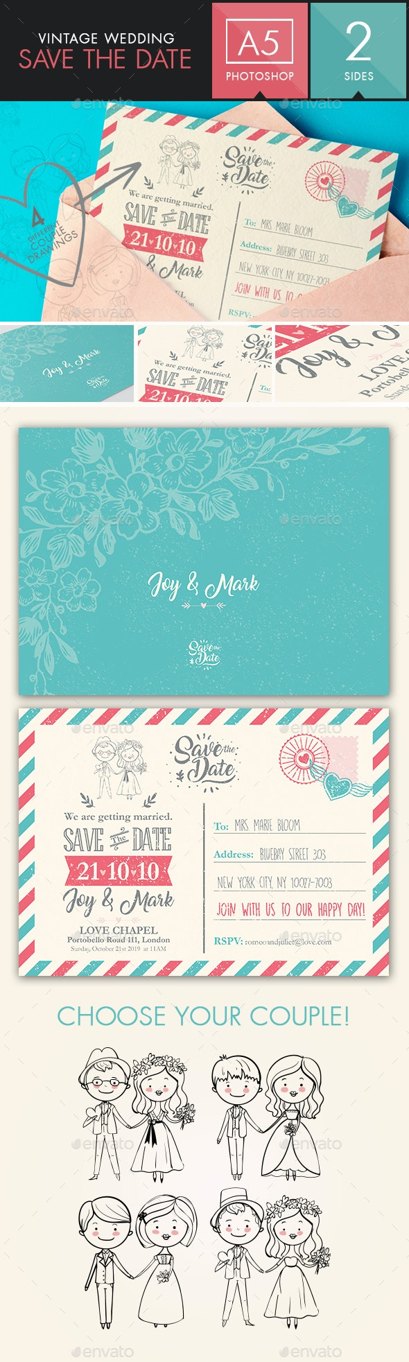 Save the Date - Vintage Wedding Postcard - Weddings Cards & Invites
