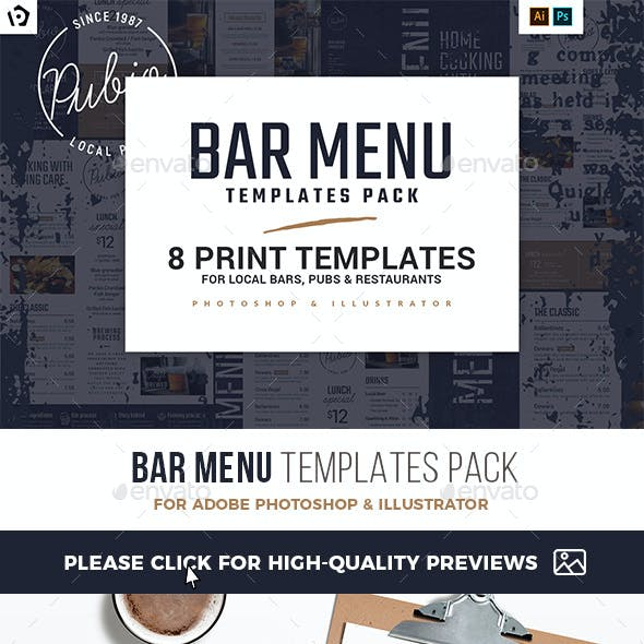 Bar Menu Templates Bundle