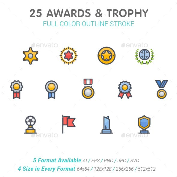 25 Awards & Trophy Full-Color Icon