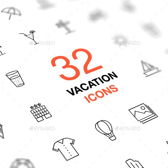 Thin Line Vector Icon Set. Summer vacation and travel.