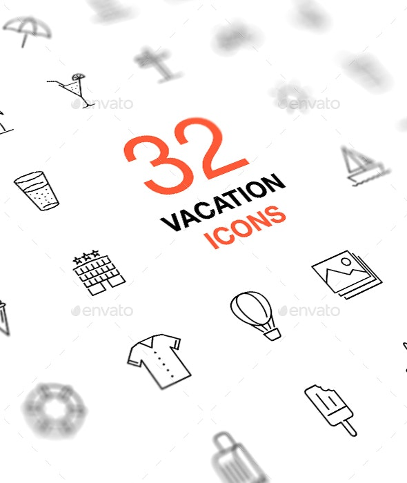 Thin Line Vector Icon Set. Summer vacation and travel. - Seasonal Icons