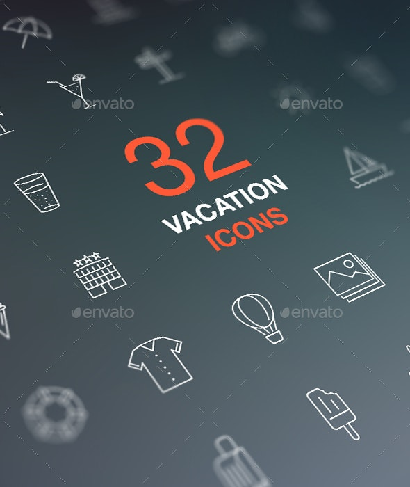 Summer vacation thin line icon set. Holiday leisure concept. - Seasonal Icons