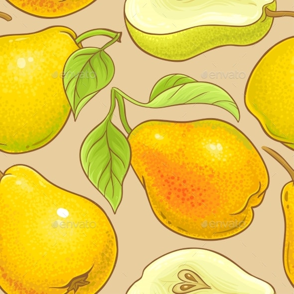 Pear Fruits Vector Pattern on Color Background - Food Objects