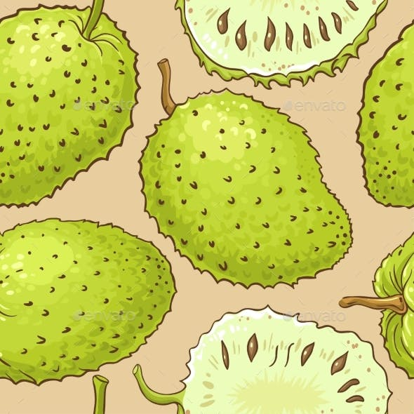 Soursop Fruits Vector Pattern on Color Background