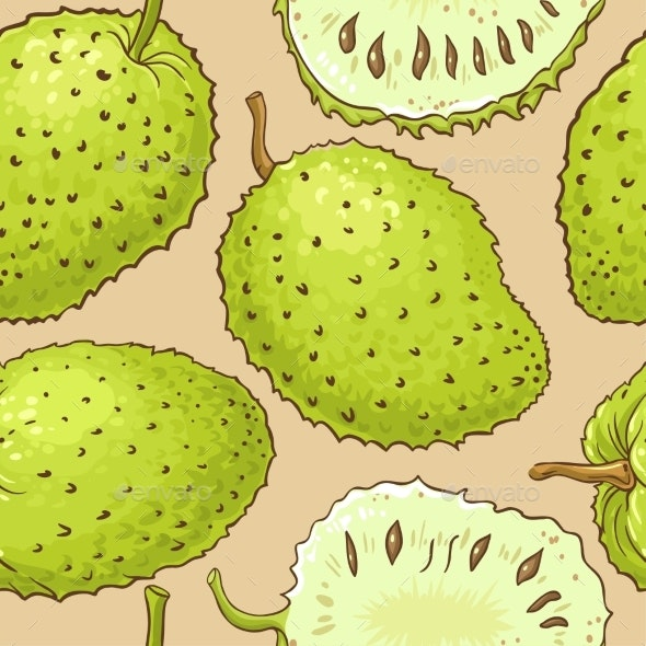 Soursop Fruits Vector Pattern on Color Background - Food Objects