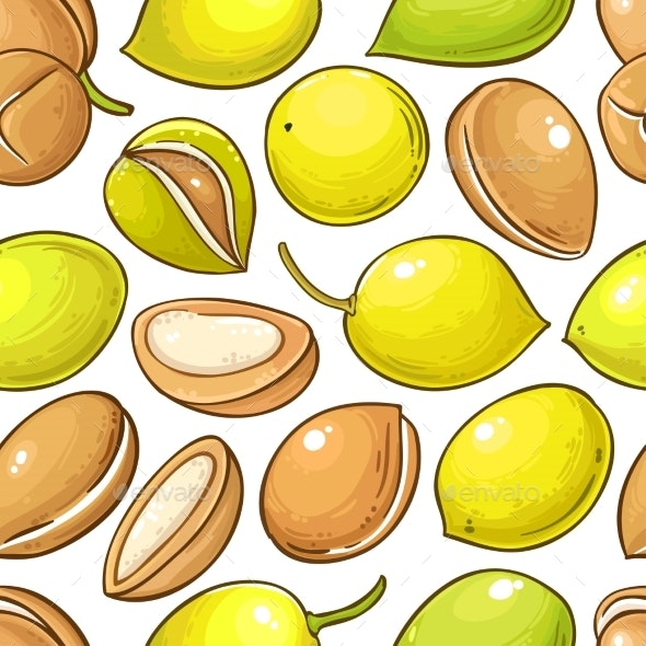 Argan Nuts Vector Pattern on White Background - Health/Medicine Conceptual